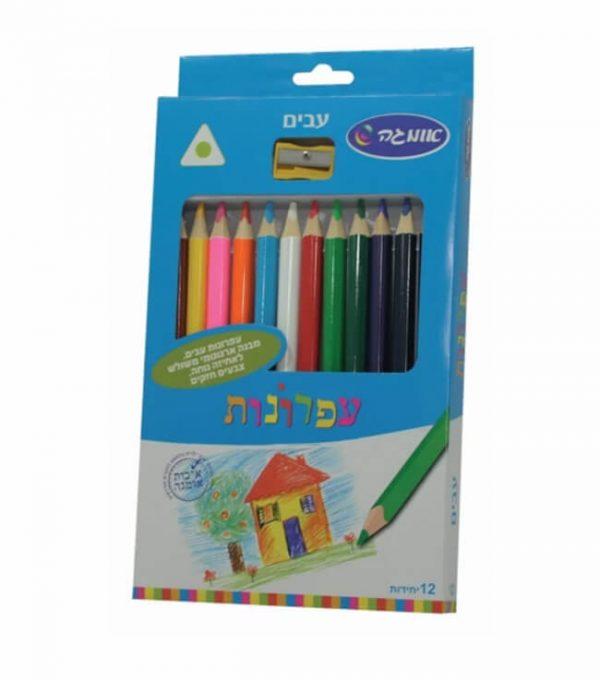 עפרונות צבעוניים משולשים עבים-0