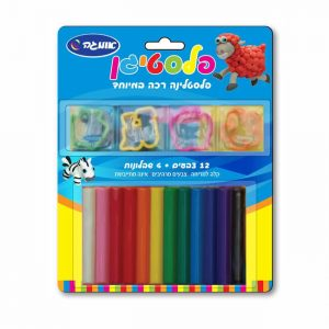 פלסטיגן 12 צבעים + 4 שבלונות בבליסטר-0